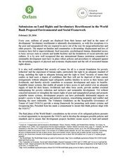 Submission on Land Rights and Involuntary Resettlement in the World Bank Proposed Environmental and Social Framework